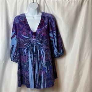 Apartment Nine 1x  Purple Blue 3/4 Length Sleeves